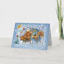 Russian Christmas - Troika,Santa,snowman,rabbits Holiday Card
