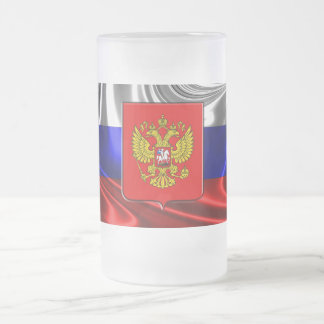 Russian Coat of arms Frosted Glass Beer Mug