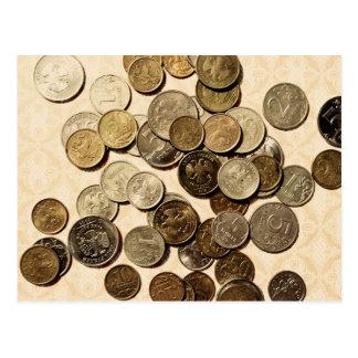 Russian coins postcard