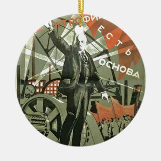 Russian Communist Propaganda Poster Ceramic Ornament