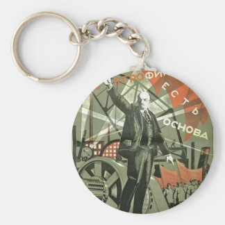 Russian Communist Propaganda Poster Keychain