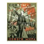 Russian Communist Propaganda Poster Postcard