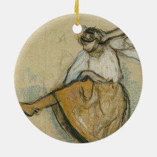 Russian Dancer by Edgar Degas Double-Sided Ceramic Round Christmas Ornament