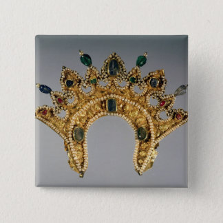 Russian diadem, gold set with pearls pinback button