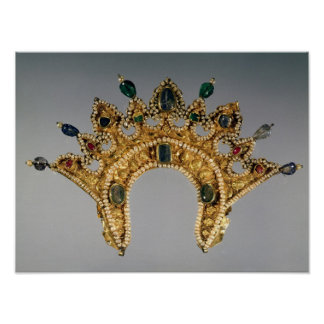 Russian diadem, gold set with pearls poster