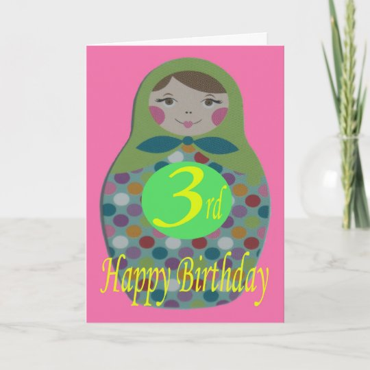 Russian Doll Happy 3rd Birthday Card