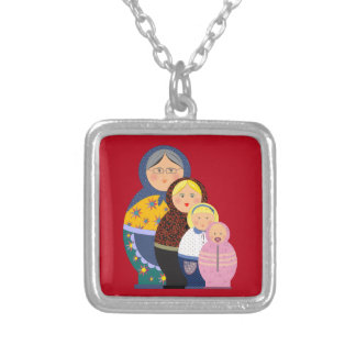 Russian Doll Matryoshka Life Stages Colorful Cute Silver Plated Necklace