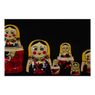Russian doll set, traditional Russian wooden paint Poster
