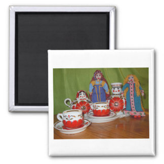 Russian Doll Tea Time Refrigerator Magnet