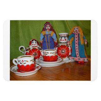 Russian Doll Tea Time Vinyl Magnets