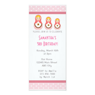 Russian Dolls Birthday Invitation Pink Polka Dot