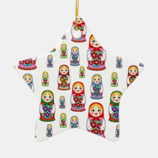 russian dolls ceramic ornament