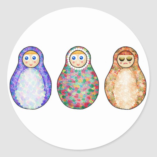 Russian dolls classic round sticker