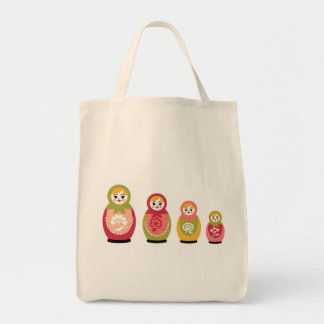 russian dolls grocery tote