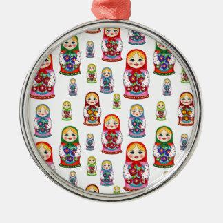 russian dolls metal ornament