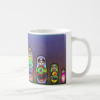 Russian dolls on a row coffee mug
