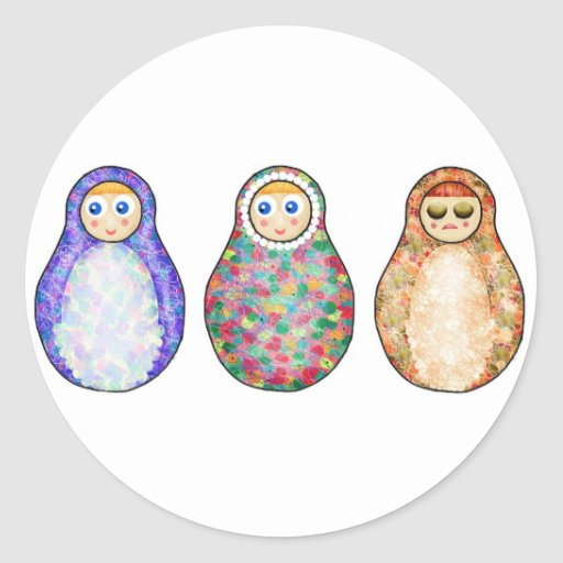 Russian dolls round stickers