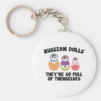 Russian Dolls. They're So Full Of Themselves. Basic Round Button Keychain