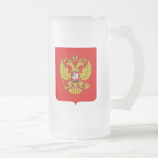 Russian Federation Coat of Arms Frosted Glass Beer Mug