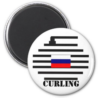 Russian Federation Curling 2 Inch Round Magnet