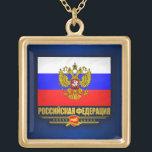 "Russian Federation Flag &amp; Emblem Gold Finish Necklace<br><div class=""desc"">Russian Federation Flag &amp; Emblem</div>"