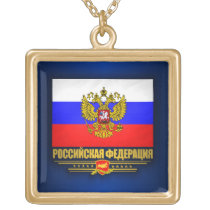 Russian Federation Flag & Emblem Gold Finish Necklace