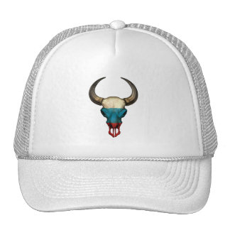 Russian Flag Bull Skull Trucker Hat