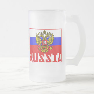 Russian Flag Frosted Glass Beer Mug