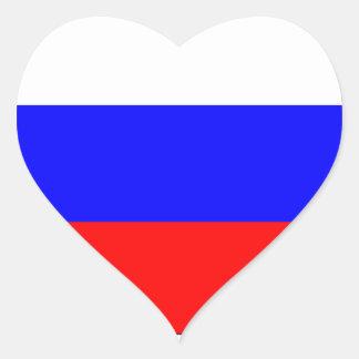 RUSSIAN FLAG HEART STICKER