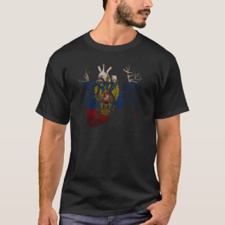 Russian Flag in Real heart T-Shirt