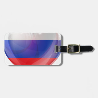 Russian flag love heart luggage tags