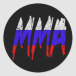 Russian Flag MMA Classic Round Sticker