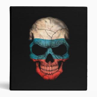 Russian Flag Skull on Black 3 Ring Binder