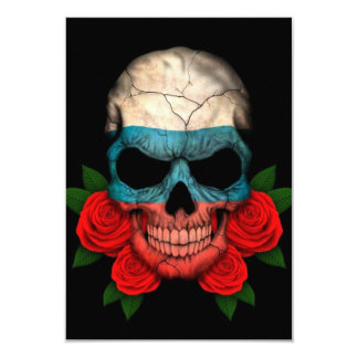 Russian Flag Skull with Red Roses Card