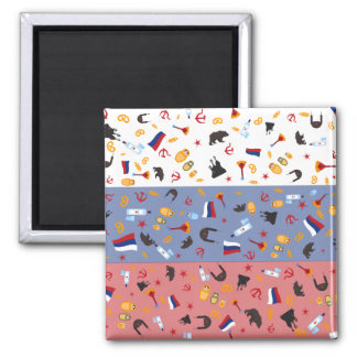 Russian Flag with stereotypes of the country 2 Inch Square Magnet