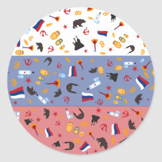 Russian Flag with stereotypes of the country Classic Round Sticker
