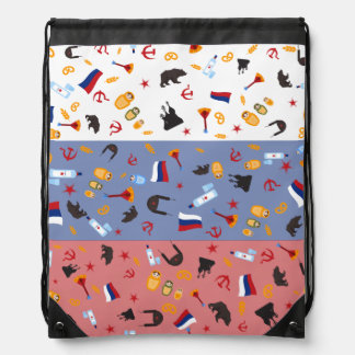 Russian Flag with stereotypes of the country Drawstring Bag