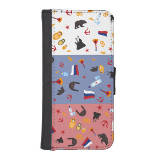 Russian Flag with stereotypes of the country Wallet Phone Case For iPhone SE/5/5s