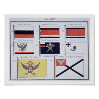 Russian Flags, from a French book of Flags, c.1819 Poster