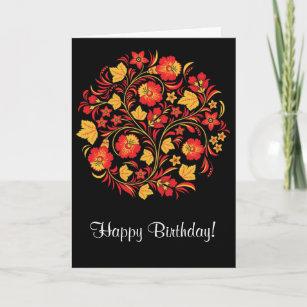 Russian Folk Art Khokhloma Birthday Card