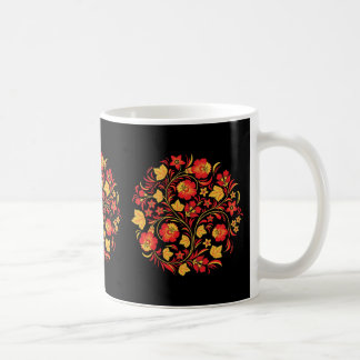 Russian Folk Art Khokhloma Floral Coffee Mug