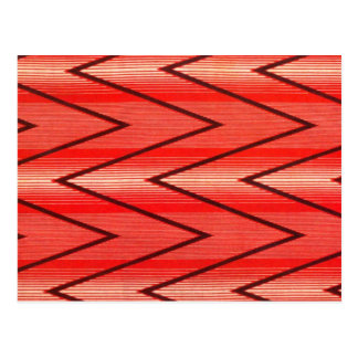 Russian French Folk Pattern, Red Zigzags Postcard