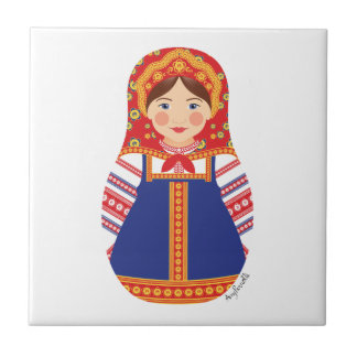 Russian Girl Matryoshka Tile