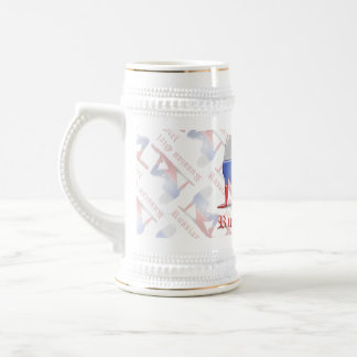 Russian Girl Silhouette Flag Beer Stein