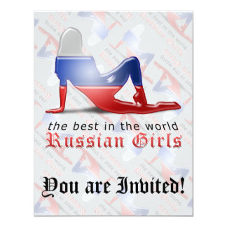 Russian Girl Silhouette Flag Card