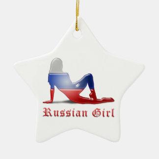 Russian Girl Silhouette Flag Ceramic Ornament