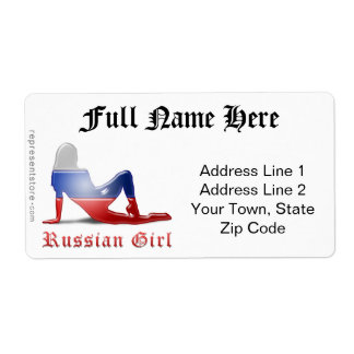 Russian Girl Silhouette Flag Label