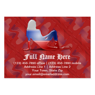 Russian Girl Silhouette Flag Large Business Card