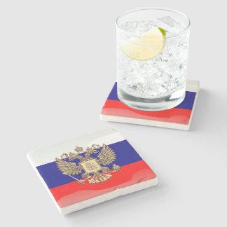 Russian glossy flag stone coaster