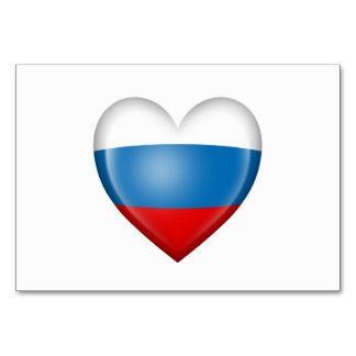 Russian Heart Flag on White Table Cards